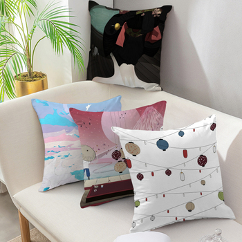 Decorative Pillows Janpanese Style Cartoon Latern Pillow Cases Throw Pillows for Living Room Bedroom Sofa Chair Cushion Cover image