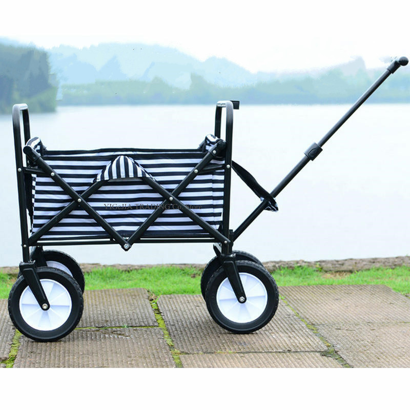 Collapsible Mini Folding Outdoor Utility Wagon, Picnic Camping Cart with Extensible T-Handle, Portable Shopping Cart image