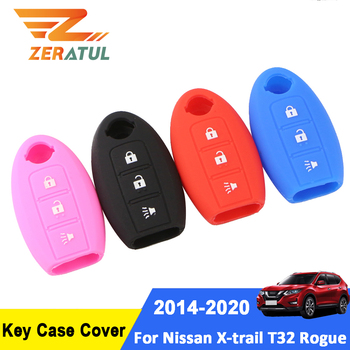 Zeratul Silica Gel Car Key Protection Cover Key Holder Case for Nissan X-trail Xtrail Rogue T32 2014 - 2020 Accessories image