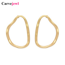 Carvejewl big stud earrings irregular round circle simple metal for women girl jewelry unique fashion European