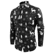 Funnyshirt Printed Long Sleeve Button Men Clothes Casual Snowflakes Christmas deer Printed Christmas