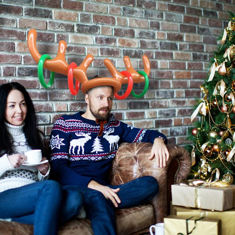 Inflatable Reindeer Christmas Hat Christmas Toy Inflatable Reindeer Christmas Hat Antler Ring Toss Holiday Party Game Toys