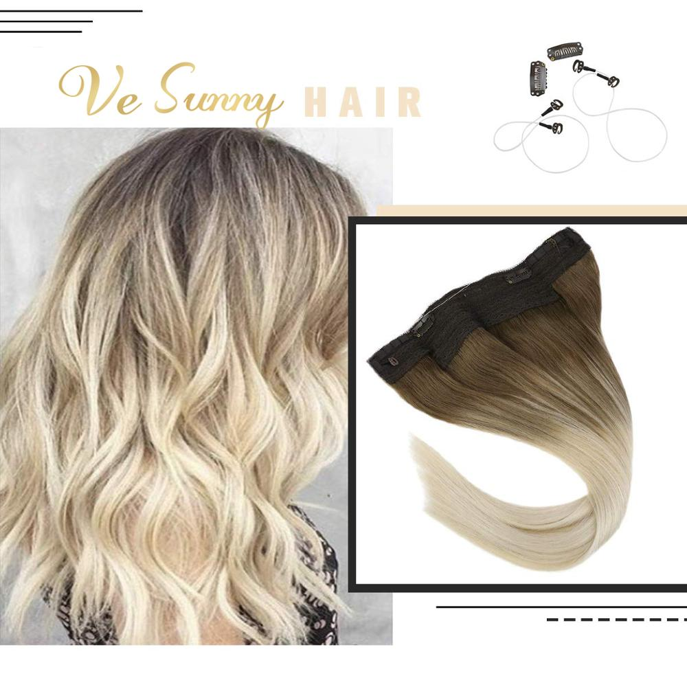VeSunny Invisible Halo Hair Extensions Real Human Hair Flip in Wire with 2 Clips on Balayage Ombre Light Brown to Blonde #8a/60