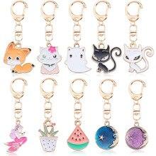 2020 Cartoon Small Animal Keychain Cute White Rabbit Fox Cat Pendant Student Key Chain Girl School Bag Pendant Gift Jewelry недорого