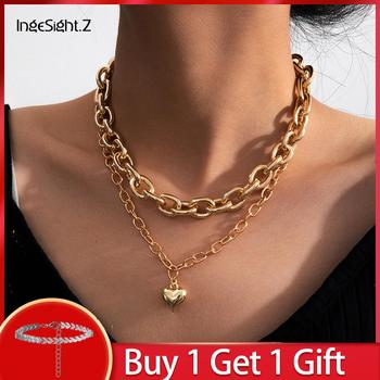 IngeSight.Z Multi Layered Chunky Thick Curb Cuban Miami Choker Necklace Statement Love Heart Pendant Necklaces for Women Jewelry salircon punk miami curb cuban chain rhinestone necklaces multi layer chunky choker lock pendant necklace women men goth jewelry