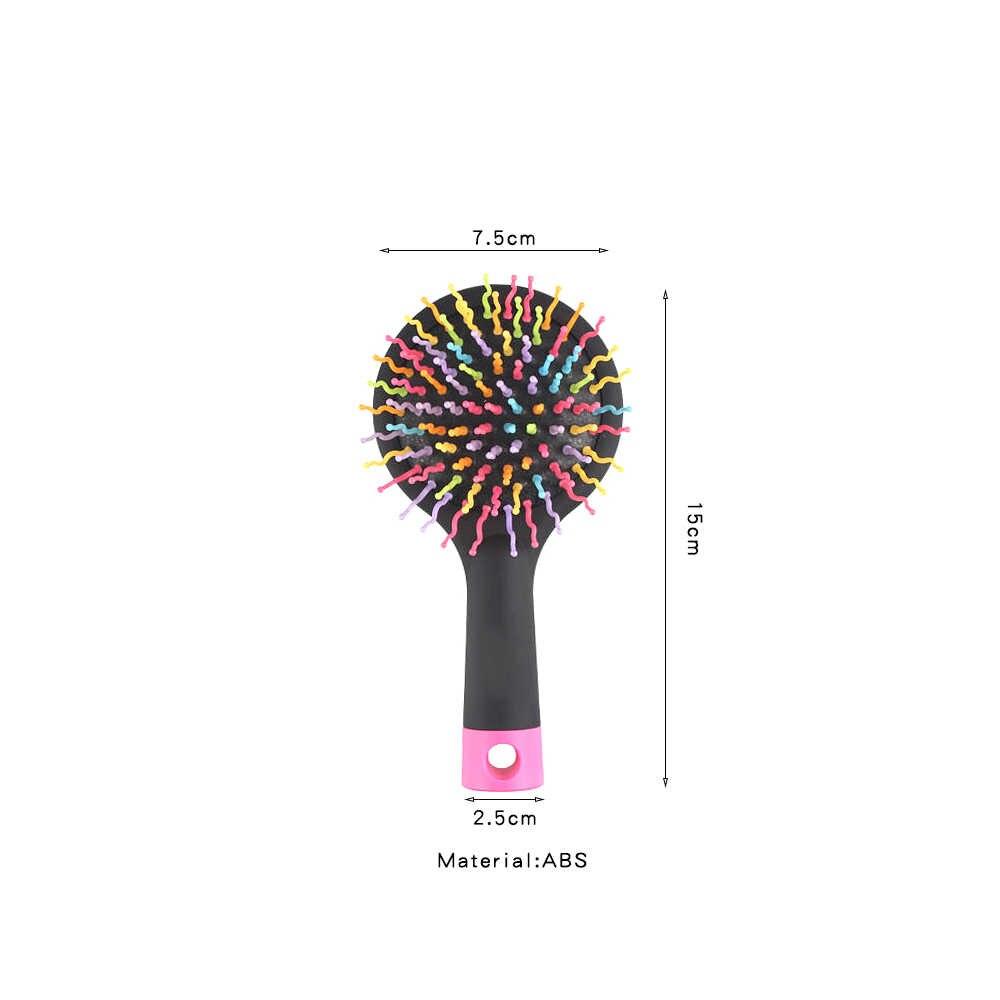 Regenbogen Volumen Pinsel Mit Spiegel, Anti-statische Haarpflege Haar Heißer Kamm, massage Airbag Locken & Perücke Haar Pinsel Frauen, Barber Zubehör