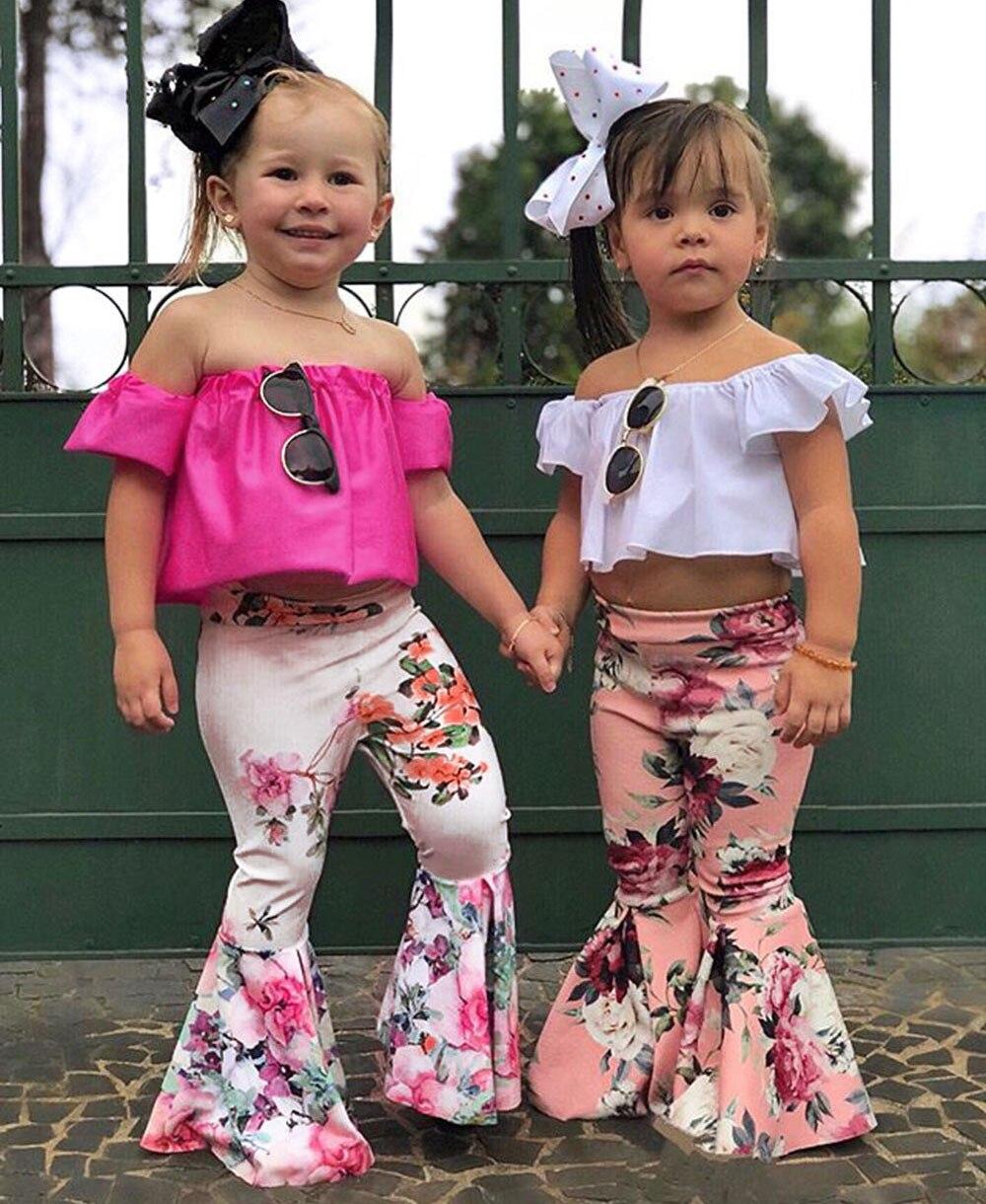 2Pcs Toddler Baby Kids Girls Solid Off Shoulder Tops+Floral Pants Set Outfits