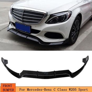 Front Bumper Lip Body Kit Spoiler Splitters for Benz C Class W205 C205 Sport C180 C200 C250 C260 C300 C350 2015 - 2020 image