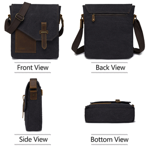 Image 2 - VASCHY Lightweight Irregular Mens Small Messenger Bag Vintage Cowhide Leather Water Resistant Canvas Crossbody Shoulder Bags
