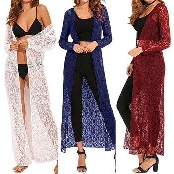 Beach Kimono Cardigan 2020 ZANZEA Summer Women Lace Crochet Shirts Female Casual Long Blouse Cape Outerwear Plus Size 6XL