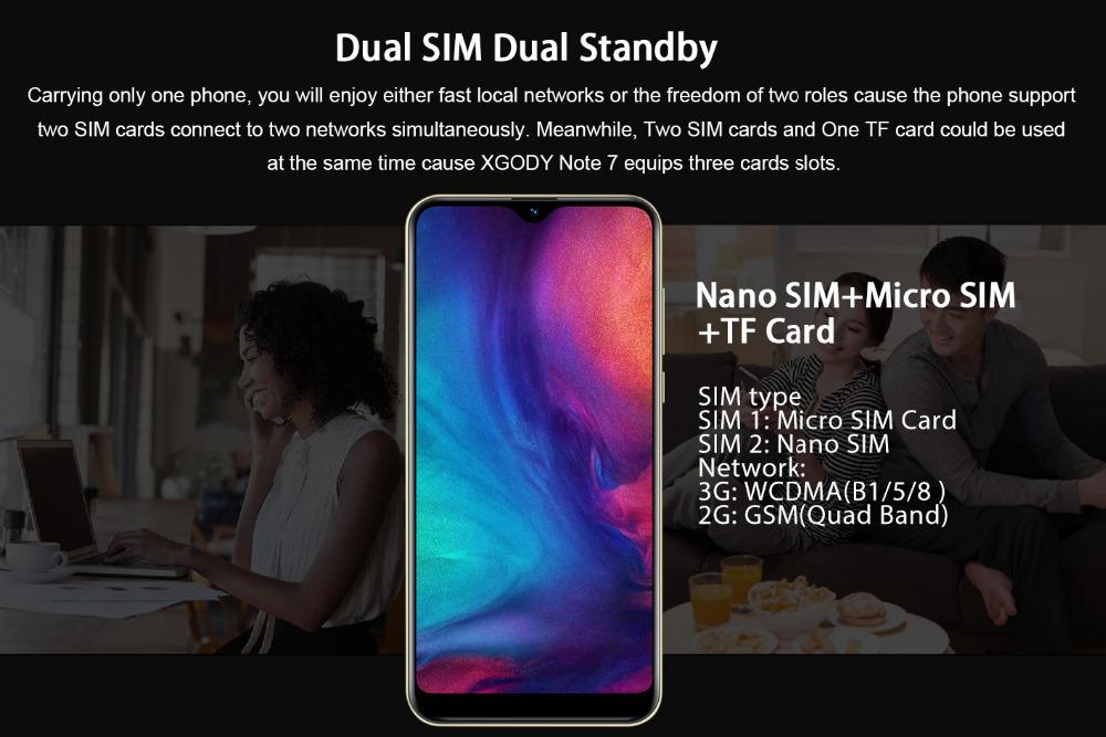Xgody 3G teléfono móvil Note7 2GB 16GB Smartphone 6,26 8