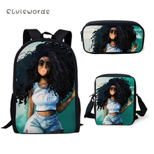 ELVISWORDS Fashion Kids School Backpack Set African Girls Pattern Book Bags Cartoon Designer 3PC/Set Students