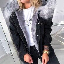 Женское хлопковое Стеганое пальто 2020 меховая джинсовая куртка