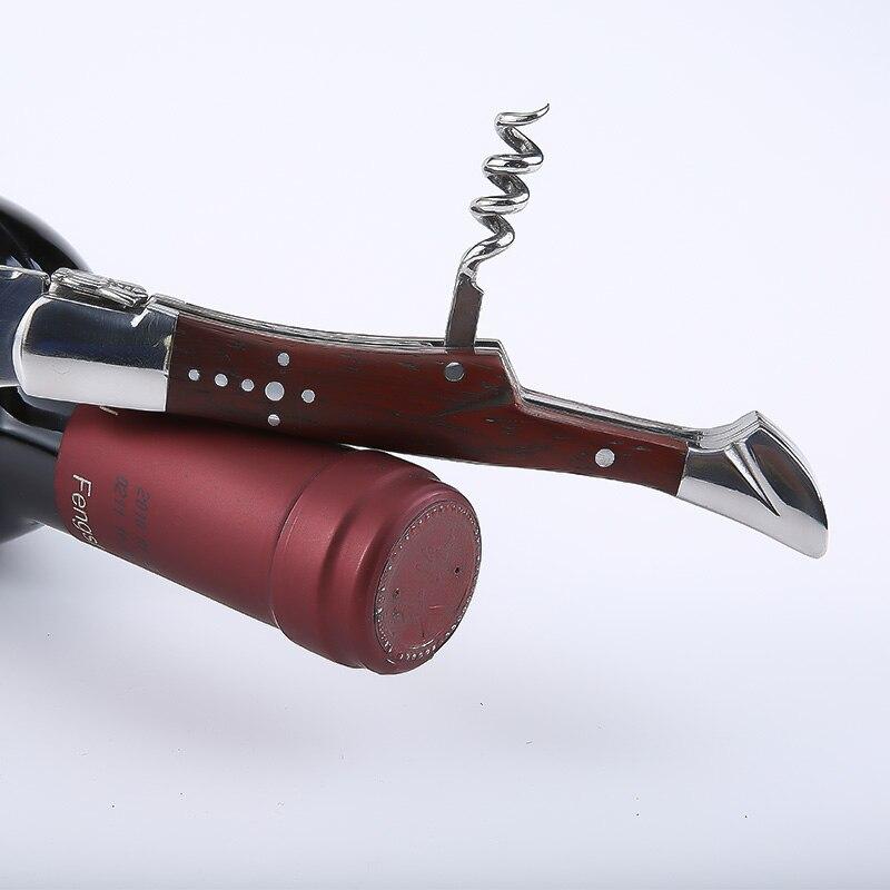 Couteaux à vin de fête de mariage en acier inoxydable tire bouchon ouvre vin poignée en bois canette de bière ouvre bouteille accessoires de vin Restaurant - 3
