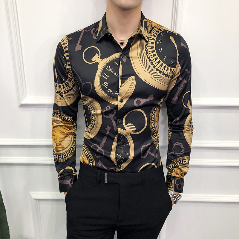 High Quality Men Black Casual Shirt Long Sleeve Gold Dress Shirts Male Slim Fit Print Social 2020 Spring Luxury Fashions 6xl