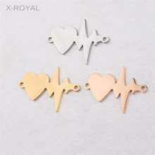 X-ROYAL 10Pcs/lot Stainless Steel Heart Electrocardiogram Shape DIY Charm Connectors Jewelry Findings 20*28mm Pendant