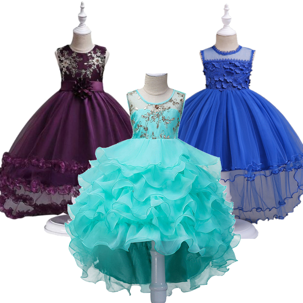 Flower Smear Girl Dress Party Wedding Gown Kids Formal Bridesmaid Dress Baby Girl Princess Dress For Kids 3 5 7 9 11 13 14 Years