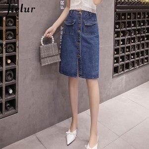 Image 2 - Jielur джинсовые юбки с высокой талией размера плюс пуговицы карманы Классическая джинсовая юбка для женщин S 5XL модная Корейская элегантная юбка