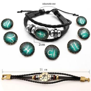 2pcs/set 12 Constellation Bracelets Luminous Charm Leather Bracelet Zodiac Horoscope Braided Bangle Men Women Jewelry Wrist Gift 2