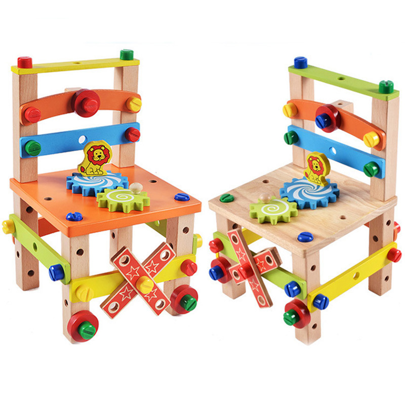 Kids Wooden Tool Chair Educational Toys Colorful Multifunctional Assembling Chair Toy Child Learning Intelligent Montessori Toys