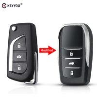 Keyyou 3 botões modificado filp escudo da chave do carro para toyota levin camry reiz highlander corolla vios remoto caso chave
