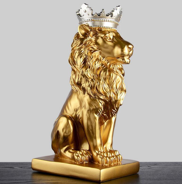 Estátuas de resina de leão para decoração estátua de leão estatueta de resina/escultura modelo artesanato animal abstrato nórdico decoração para casa