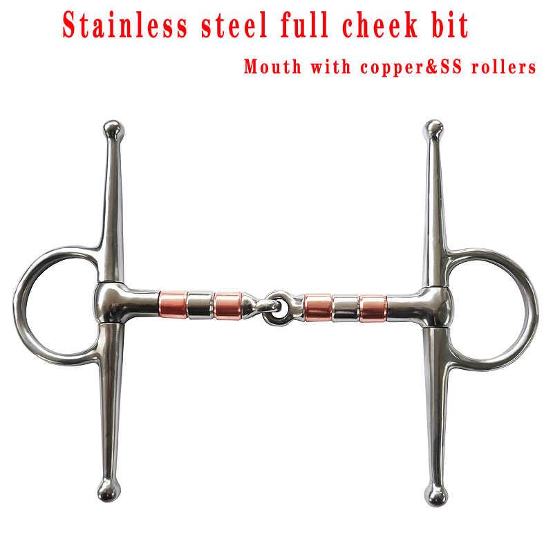 Ücretsiz kargo Paslanmaz çelik tam yanak at bit, eklemli ağız ile bakır ve SS silindirler. at binme ekipmanları (BT0603)