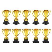 Altın Mini ödül Trophy plastik ödül ödülleri dekor anaokulu çocuklar hediye ödülleri Trophy için siyah taban ile rekabet oyunları