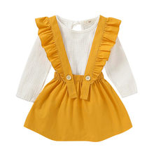 Children Cloth Set Toddler Baby Girls Long Sleeve Solid T-Shirt Tops+Overalls Skirts Outfits Girls 2019 Autumn Outfits Set #Q(China)