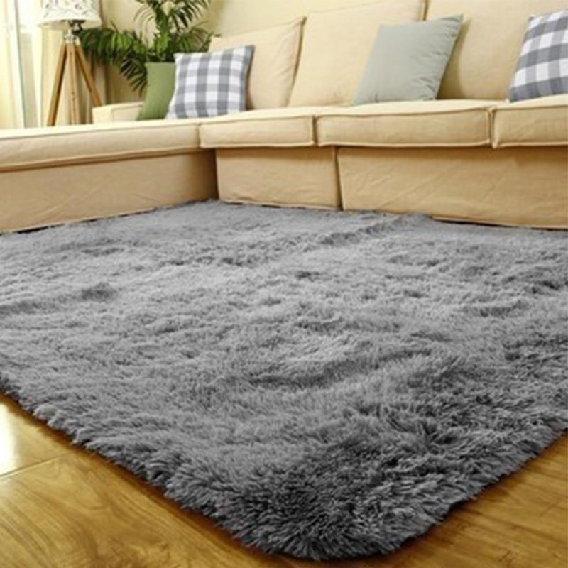 Grey Faux Fur Fluffy Carpet Plush Soft