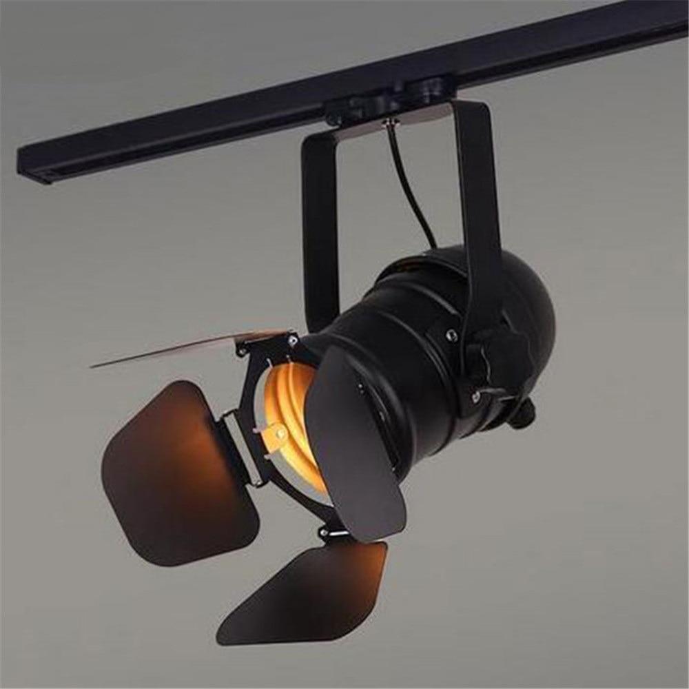 Vintage E27 Track Light, Loft Industrial Spotlight Rail Light, Black Track Lamp with barndoor, Clothes Store Shop Lighting