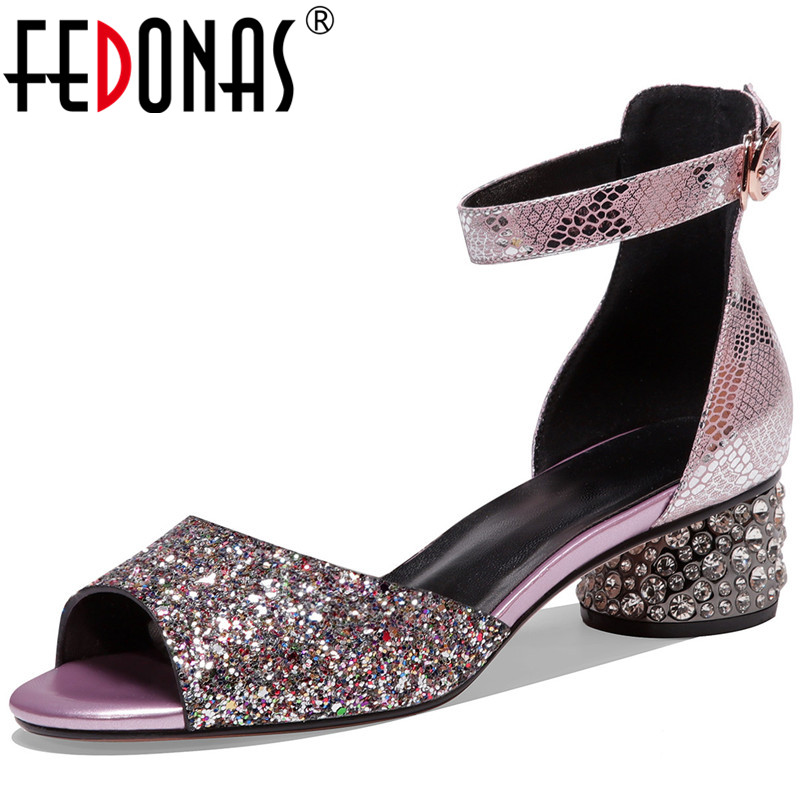 FEDONAS 2020 New Arrival Genuine Leather Women Sandals Peep Toe Thick Heels Pumps Metal Buckle Party Office Shoes Woman Heels