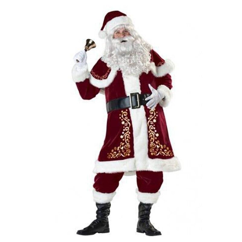 Adulte père noël vieil homme rouge vêtements de noël Costume de père noël Costume de luxe avec barbe blanche ensemble de costumes de père noël en peluche - 6