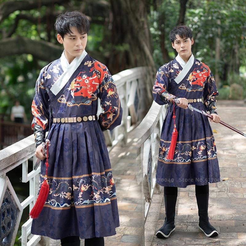 Chinese Traditional Ming Qing Dynasty Men Hanfu Dress Dragon Print Tang Suit Hanbok Korean Robe Prince Swordsman Cosplay Costume