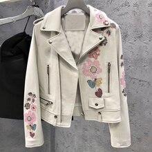 Chaqueta de cuero genuino de mujer Real de piel de oveja abrigo 2019 otoño mujer chaqueta de impresión blanca