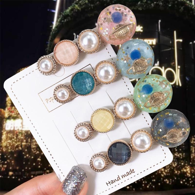 3/4PCS  Fashion Women Acetate Round Barrette Hairpin Geometric  Hair Clip Headwear Girl Hair Ornament Hair Accessories