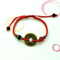 Buddhism Six Words Ancient Coin Kabbalah Red String Bracelet Evil Eye Protection