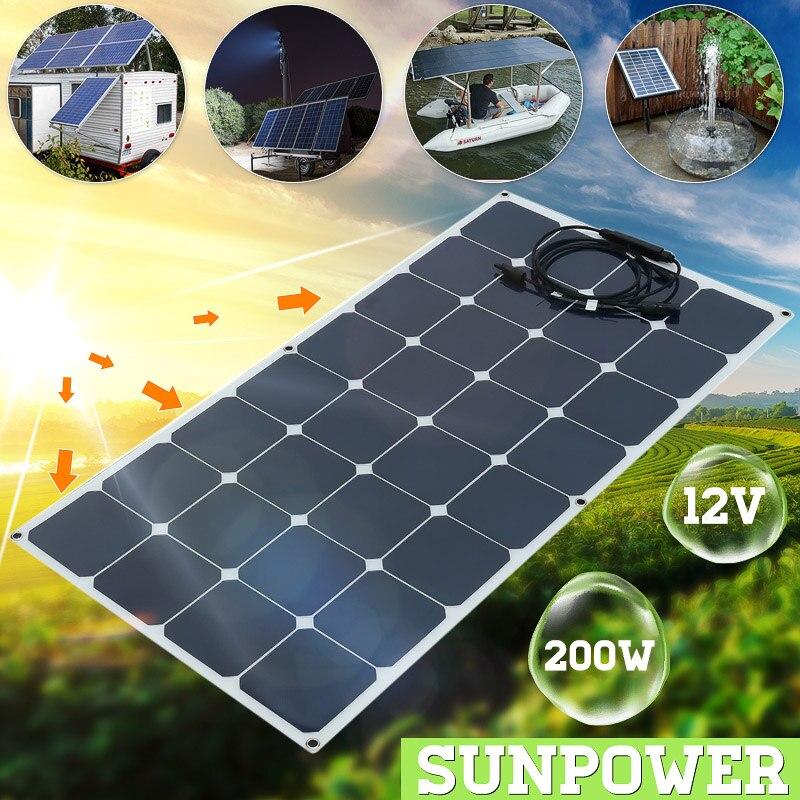 Solar Panel 200W 12V Monocrystalline 200W solar system Photovoltaic solar Changer 12v Solar Cell for battery/yacht/RV/car/boat
