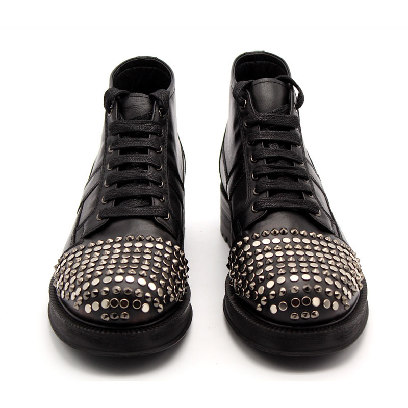 Beading Punk Mens High Top Med Heels Shoes Rivet Toes Lace Up Motorcycle Ankle Boots Man Lace Up Real Cow Leather Platform Boots