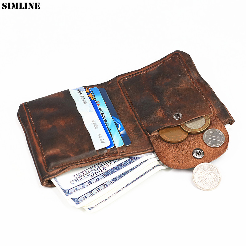 Genuine Leather Wallet Men Vintage Handmade Short Small Mini Wallets Purse With Card Holder Money Bag Coin Pocket Male Carteira