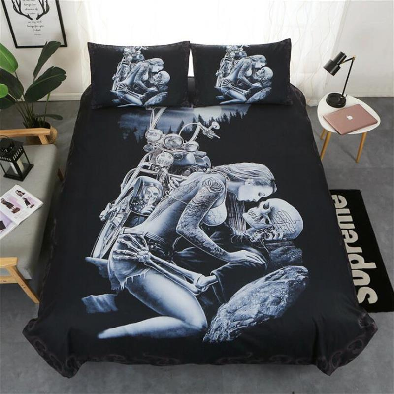 3D Digital Print Skull Bedding Set King Size Twin Full Queen Single Double Duvet Cover Set Soft Comforter Cover With Pillowcase