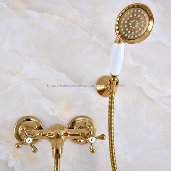 Gold Color Brass Wall Mounted Bathroom Shower Faucet Set With Hand Shower Head Mixer Tap Nna976
