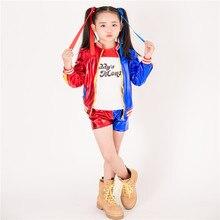 3 stücke Heißer Frauen Harley Quinn T shirt T Papa der Lil Monster Suicide Squad Kostüm Cosplay Halloween Baumwolle Kleidung für kinder