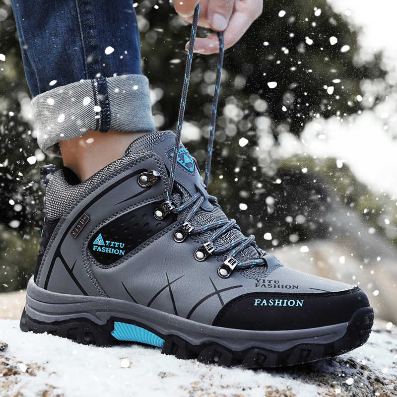 Top Kwaliteit Winter Schoenen Laarzen Leer Toevallige Reizen Mannen Schoenen Hoge Top Antislip Mannen Schoenen Waterdicht Bont Warm big Size Schoeisel