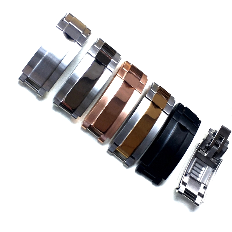 9mm Stainless Steel Buckle Brushed Silver Gold Black ROLE Buckle Oyster Lock For Daytona Submariner GMT Role Easy Adjust Clasp
