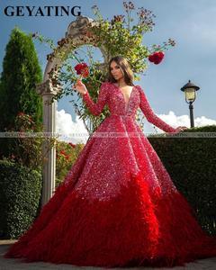 Image 1 - Luxo vermelho penas vestido de baile dubai vestidos de baile manga comprida com decote em v sem costas árabe formal vestido 2020 elegante feminino vestido de noite