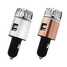 цена на 2 in 1 Car Dual USB Fresh Air Ionic Purifier Oxygen Bar Ozone Ionizer Smoke Generator For Cars Cleaner Car Air Ionizer Purifier