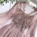 Женские сетчатые кружевные вязаные платья с V-образным вырезом, элегантное платье для выпускного вечера с пышными рукавами, женское летнее ...