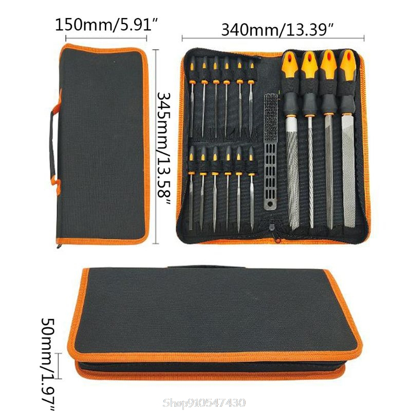 Tools : 17Pcs File Tool Set with Carry CasePremium Grade T12 Drop Forged Alloy Steel Precision Flat Triangle Half-round Round N13 20