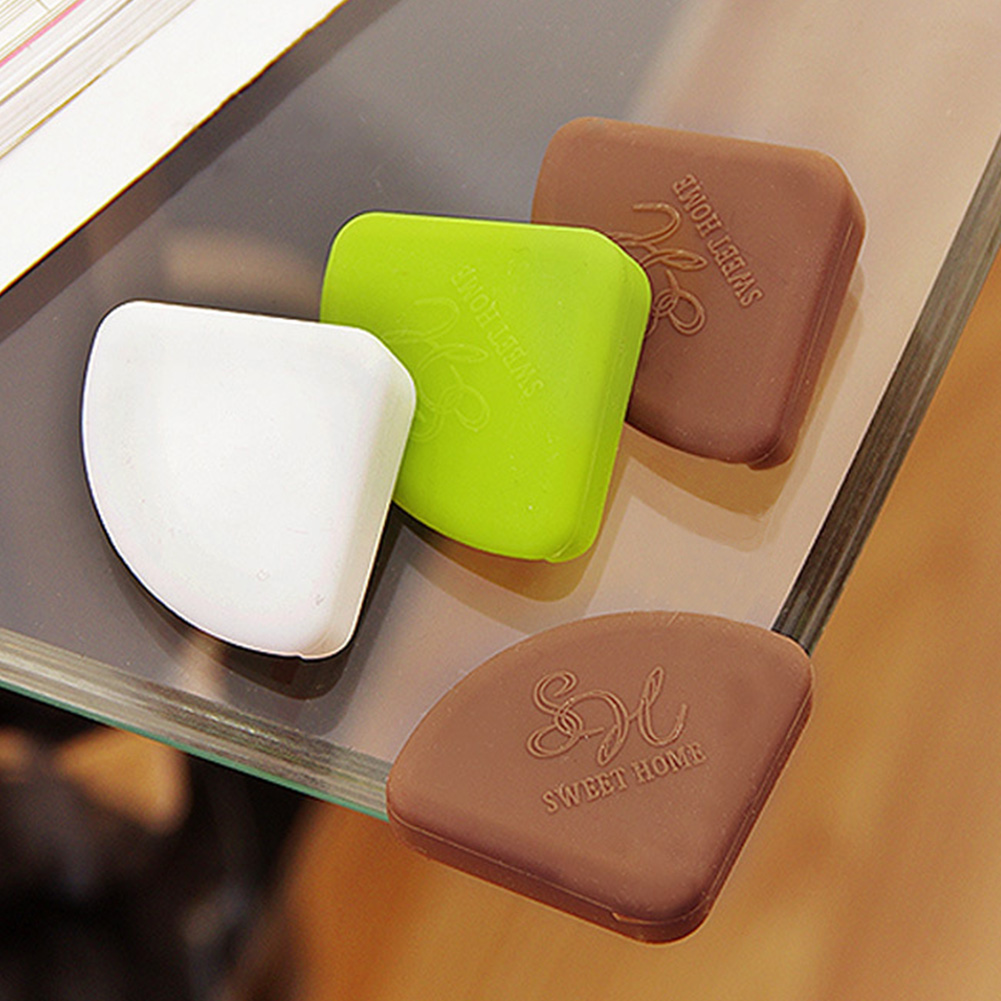 4Pcs Home Furniture Adhesive Protective Cover Fan Shaped Glass Angle Children Safety Table Corner Guard Desk Baby Soft Silicone